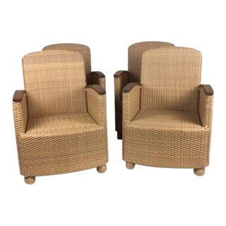 Hularo Synthetic Fiber Arm Chairs With Teak Arms - Set of 4