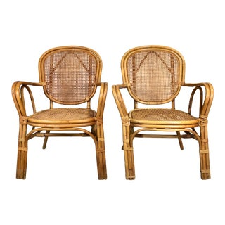 Boho Chic Bamboo & Cane Lounge Chairs—a Pair For Sale