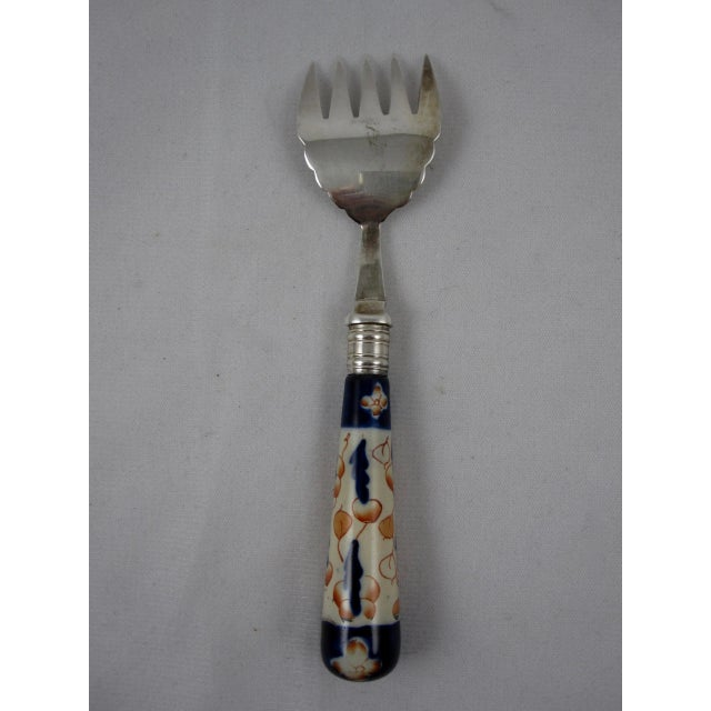 19th Century English Imari Handled Fish/Sardine Serving Fork For Sale - Image 5 of 8