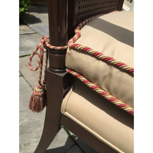 1980s Cane Backed Side Chair With Custom Cushion For Sale - Image 5 of 9