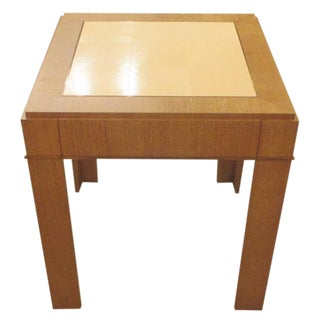 Custom Cerused-Oak Side Table with Parchment Top For Sale