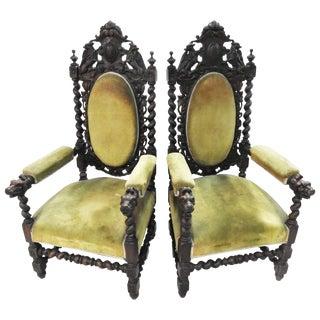 Pair of Spanish Renaissance Revival Armchairs For Sale