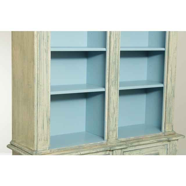 Italian Custom Faux Blue Painted Architectural Bookcase For Sale - Image 9 of 13