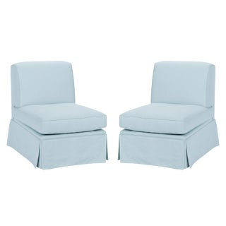 Casa Cosima Skirted Slipper Chair in Porcelain Blue, a Pair For Sale