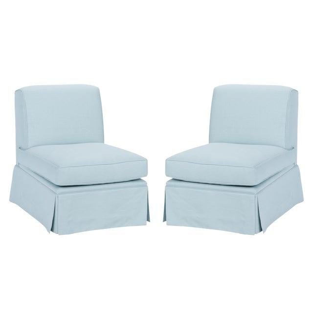 Casa Cosima Skirted Slipper Chair in Porcelain Blue, a Pair For Sale