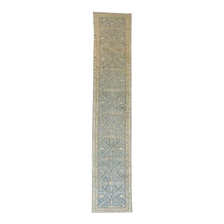 Circa 1920 Antique Persian Blue Malayer Runner- 3′ × 16′6″