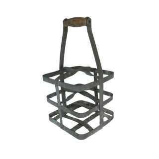 Vintage French Zinc Wine Milk Bottle Holder Carrier Crate For Sale