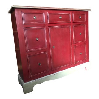 1960s Country Farmhouse Distressed Red Painted Finish Buffet Cabinet