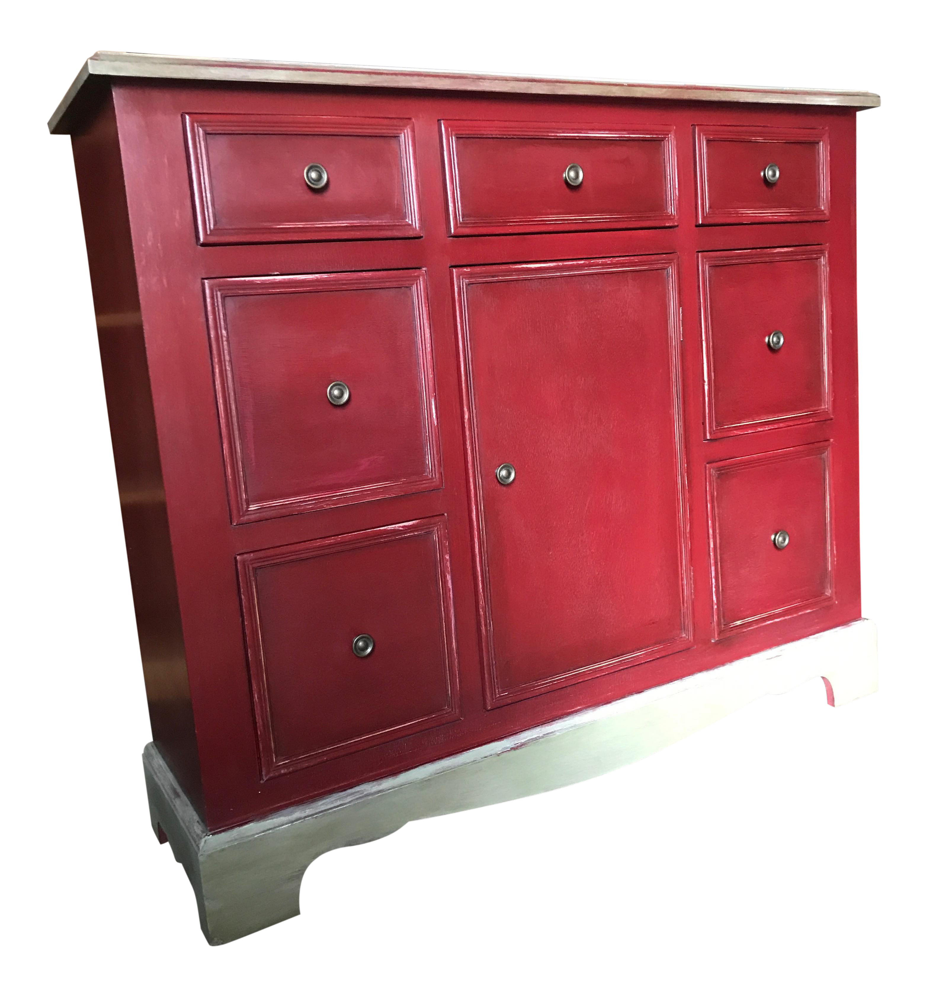 Charmant 1960s Country Farmhouse Distressed Red Painted Finish Buffet Cabinet For  Sale