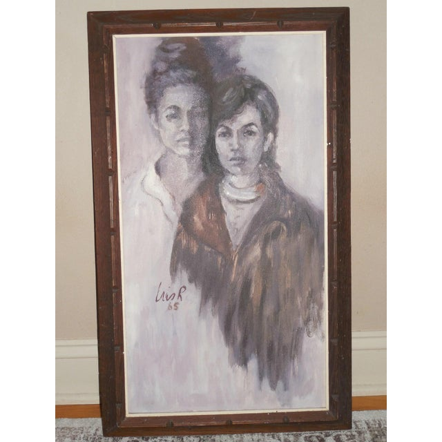 1965 Portrait of Two Women For Sale - Image 4 of 8