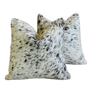 "Black & White Freckled/Speckled Cowhide Down/Feather Pillows 19"" - Pair"