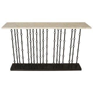 Paul Marra Iron Console With Stone Top For Sale