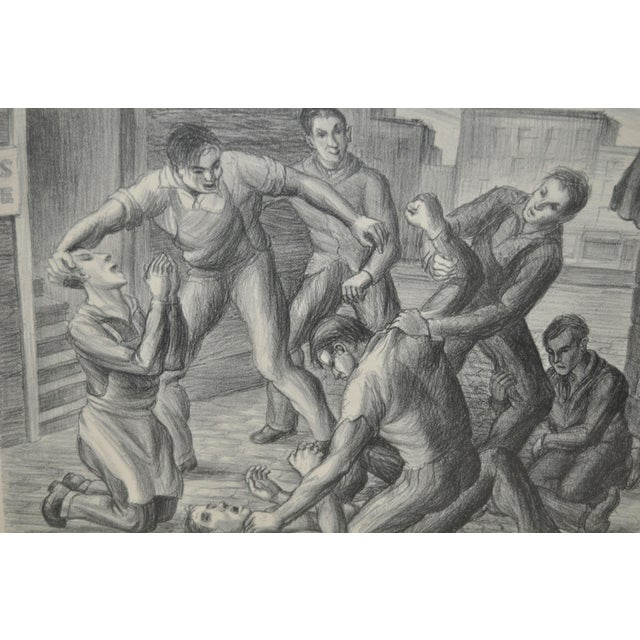 """Realism """"Controversy"""" Social Realism Pencil Signed Lithograph by Jack McMillen For Sale - Image 3 of 8"""