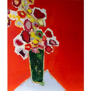 """Bill Tansey """"Tall Green Vase"""" Abstract Floral Oil Painting on Canvas For Sale"""
