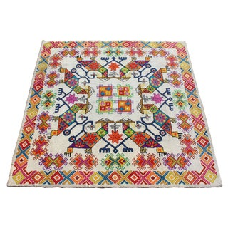 1960s Mid-Century Modern Tribal Colorful Area Rug For Sale