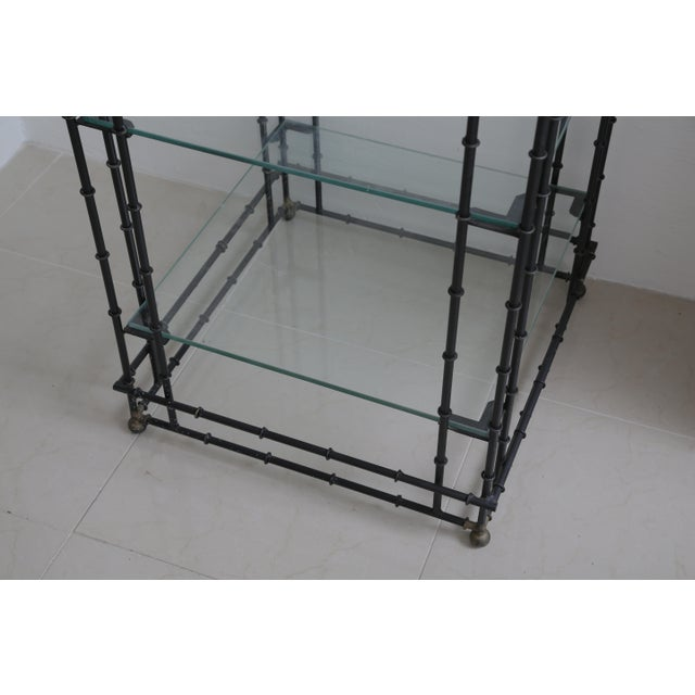 Metal Superb Tall Faux Bamboo Metal Pagoda Etagere For Sale - Image 7 of 8