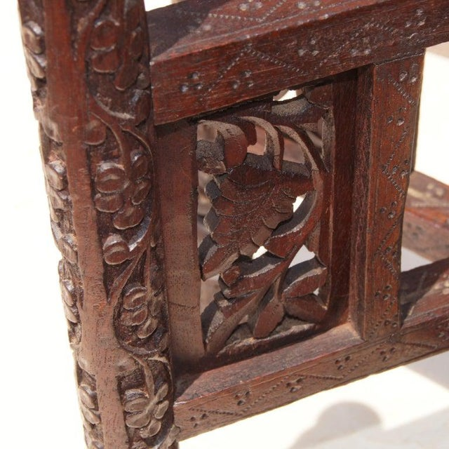 Traditional Traditional Styled Moroccan Wood and Brass Side Table For Sale - Image 3 of 4