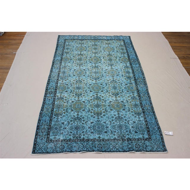 Turquoise Over-Dyed Rug - 5′5″ × 9'8″ For Sale - Image 8 of 10
