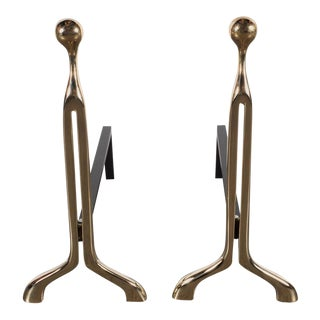 Pair of Custom Mid-Century Modernist Style Polished Brass Caliber Andirons For Sale