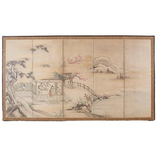 Japanese Meiji Screen Chinese Pagoda With Women and Children For Sale