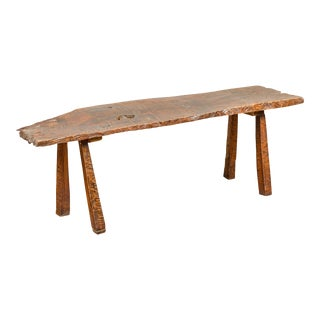 Rustic Driftwood Bench with Weathered Appearance and Splaying Legs For Sale