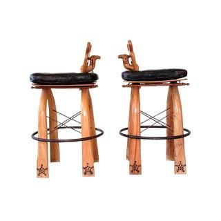 Turkish Wood Camel Saddle Stools - a Pair