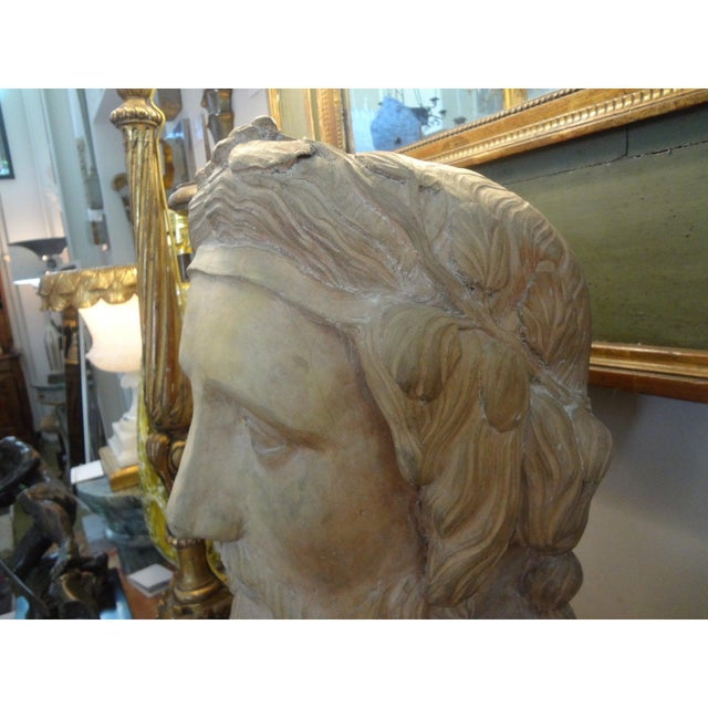 19th Century Monumental French Terra Cotta Bust of a Classical Greek For Sale - Image 9 of 11