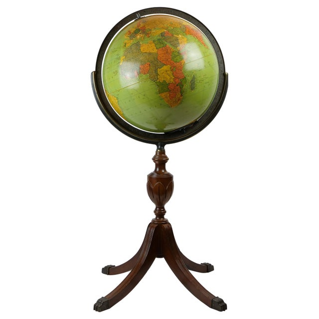 Brown Standing Glass and Wood Globe, Mid-20th Century For Sale - Image 8 of 8