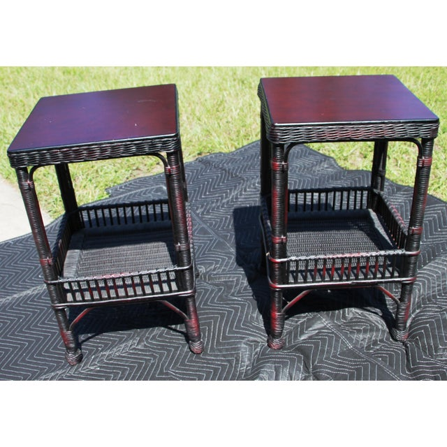 Palacek classic rattan / bamboo / wicker side tables with second shelf. Brown to red coloring. New out of the box. Classic...