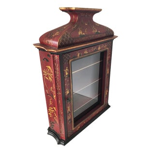 "Chinoiserie Display Pagoda Glass Cabinet 28"" H For Sale"