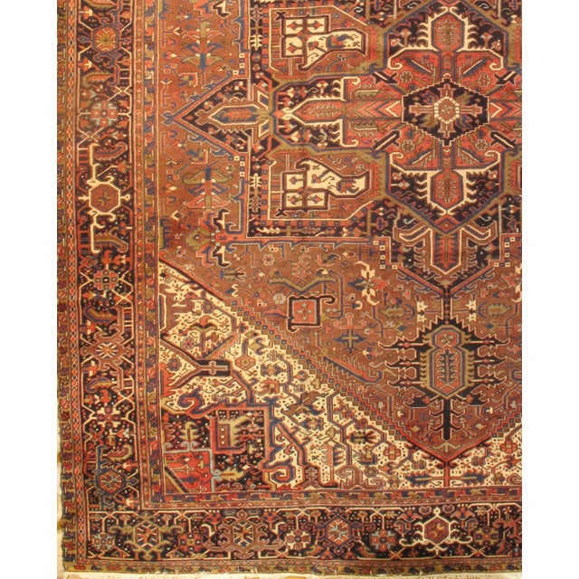 Original Semi-Antique Persian Heriz Lamb's Wool on a Cotton Foundation Hand-Spun Wool Rug Vegetable Dyed This rug has a...