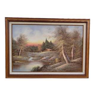 Vintage 1970's Forest Landscape Oil Painting on Canvas by H. Wilson For Sale