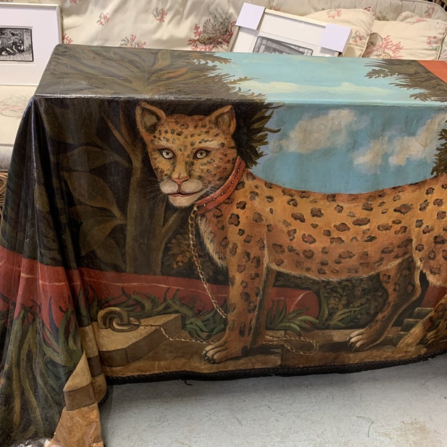 Trompe L'oeil Draped Skilling Style Oil Painting Console Table - made of fiberglass, William Skilling style cheetah -...