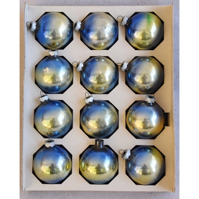 Adirondack Ombre Vintage Colorful Christmas Tree Ornaments W/Box - Set of 12 For Sale - Image 3 of 10