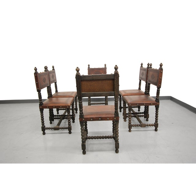 Antique Spanish Colonial Leather Dining Chairs- 6 - Image 2 of 6 - Antique Spanish Colonial Leather Dining Chairs- 6 Chairish