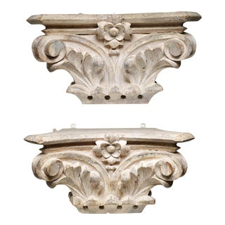 Antique White Carved Wood Turn-Of-The-Century Bank Columns - a Pair
