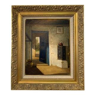 Osvald Rasmussen Sunlit Interior Oil Painting For Sale