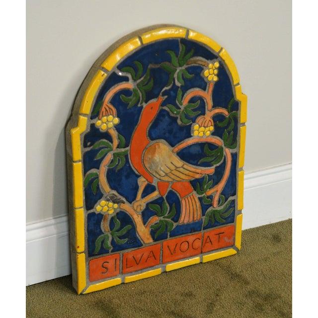 """Arts & Crafts 1960s Vintage Henry Mercer Moravian Tile Works Red Bird on Branch """"Silva Vocat"""" Plaque For Sale - Image 3 of 12"""