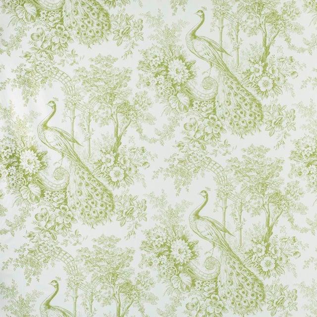 Suzanne Tucker Home Peacock Toile Print Fabric in Pistachio For Sale
