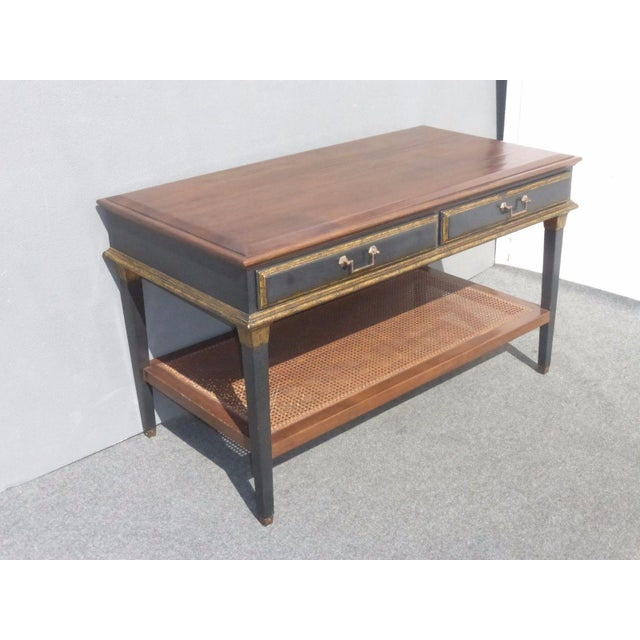 Hollywood Regency Black & Gold Crackle Finish Library Console Table For Sale - Image 4 of 11
