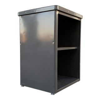 1960s Steelcase Side Cabinet Refinished in Metallic Gray For Sale