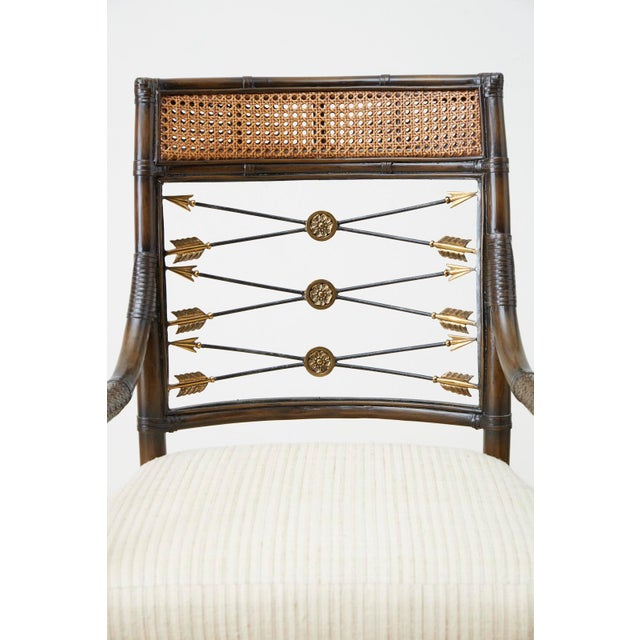 Mid 20th Century Set of Four Neoclassical Style Rattan Dining Armchairs For Sale - Image 5 of 13