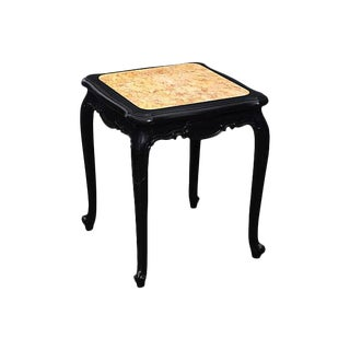 Louis XV Style Marble Top Ebonized Side Table