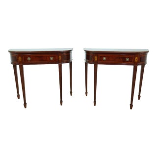 Pair Inlaid Federal Style Mahogany Console Tables For Sale