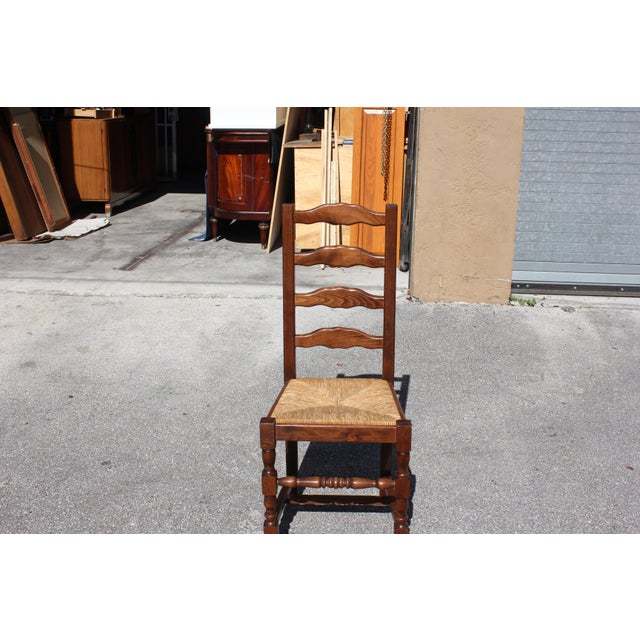 1910s Vintage French Country Rush Seat Solid Walnut Dining Chairs- Set of 6 For Sale - Image 9 of 13