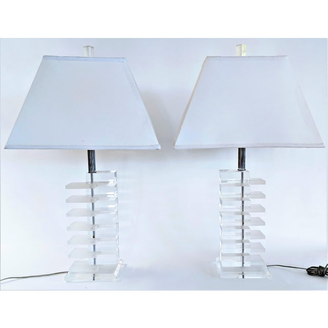 Mid-Century Modern Lucite Stacked Lamps - A Pair For Sale - Image 11 of 11