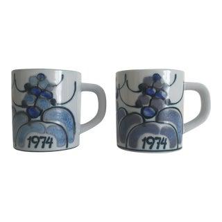 1974 Ellen Malmar Royal Copenhagen Fajance Porcelain Mugs- A Pair For Sale