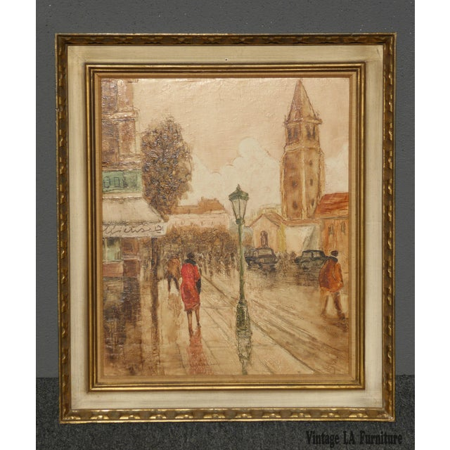 Vintage mid century french city scape oil painting picture gold frame. Unique picture in great vintage condition. Solid...