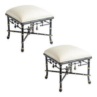 Pair Chinoiserie Faux Bamboo Black & Gold Stools by Baker For Sale