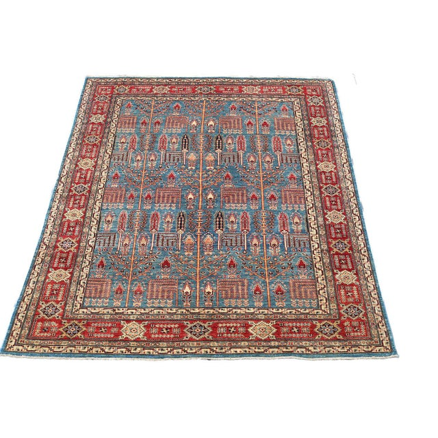 Traditional Bijar Design Blue Multi Color Hand-Knotted Wool Rug - 8′ × 9′ - Image 6 of 6